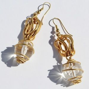 Vintage Wrapped Ball Dangle Earrings Gold Plated
